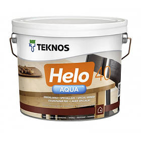 Напівглянцевий водорозчинний лак для паркету і дерев'яної підлоги Teknos прозорий 9 л Helo Aqua 40