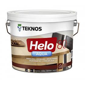 Глянцевий водорозчинний лак для паркету і дерев'яної підлоги Teknos прозорий 9 л Helo Aqua 80