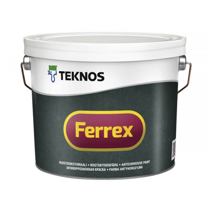 Матова антикорозійна грунтовка-фарба для металу Teknos 3 л червона Ferrex