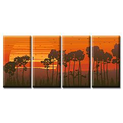 Модульная Картина 4 шт Glozis Sunset D-055 70 х 35 см D-055, КОД: 184086