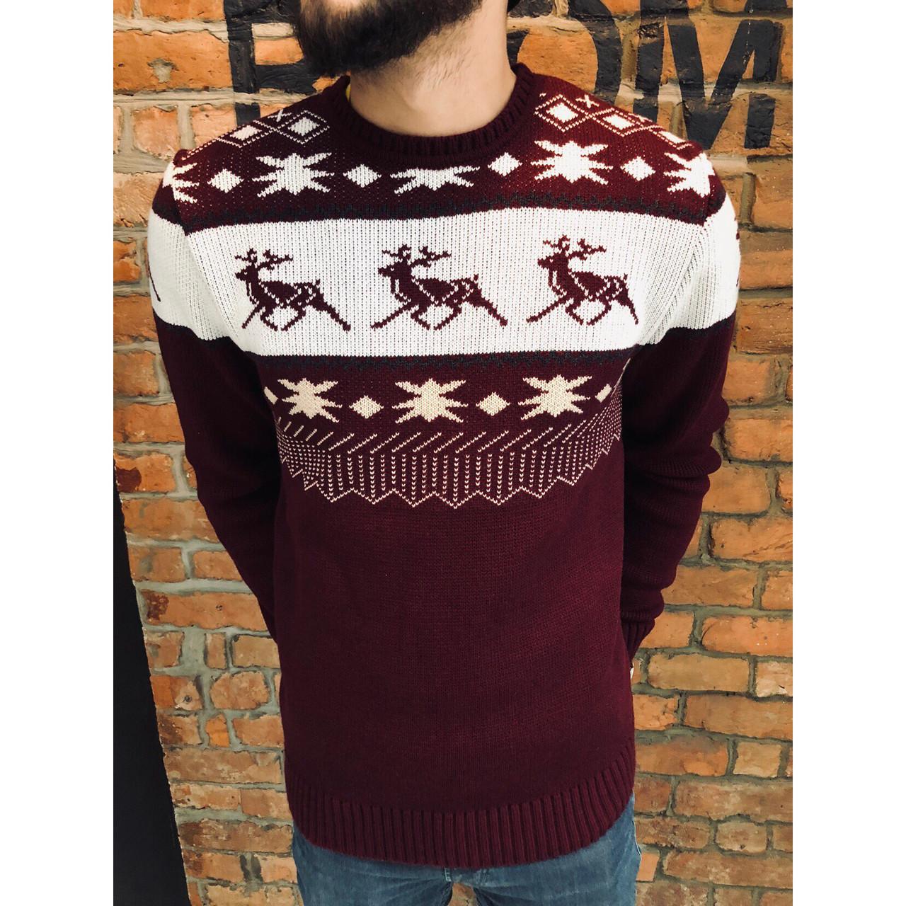 Зимний свитер мужской бордовый от бренда Morning Star размер S, M, L
