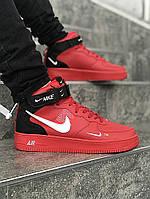 Мужские зимние кроссовки Nike Air Force Mid Utility Red