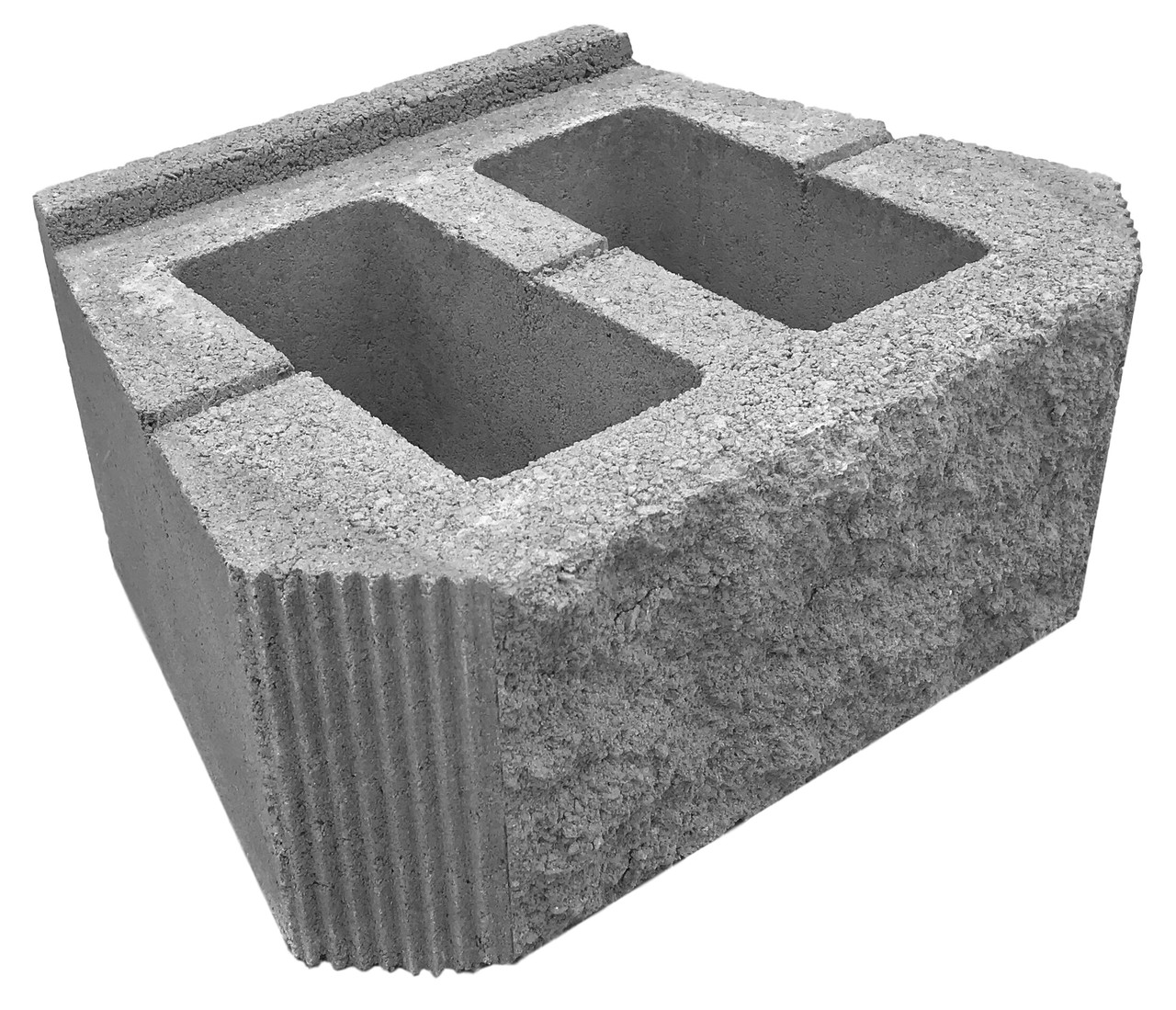 Подпорный блок колотый, серый