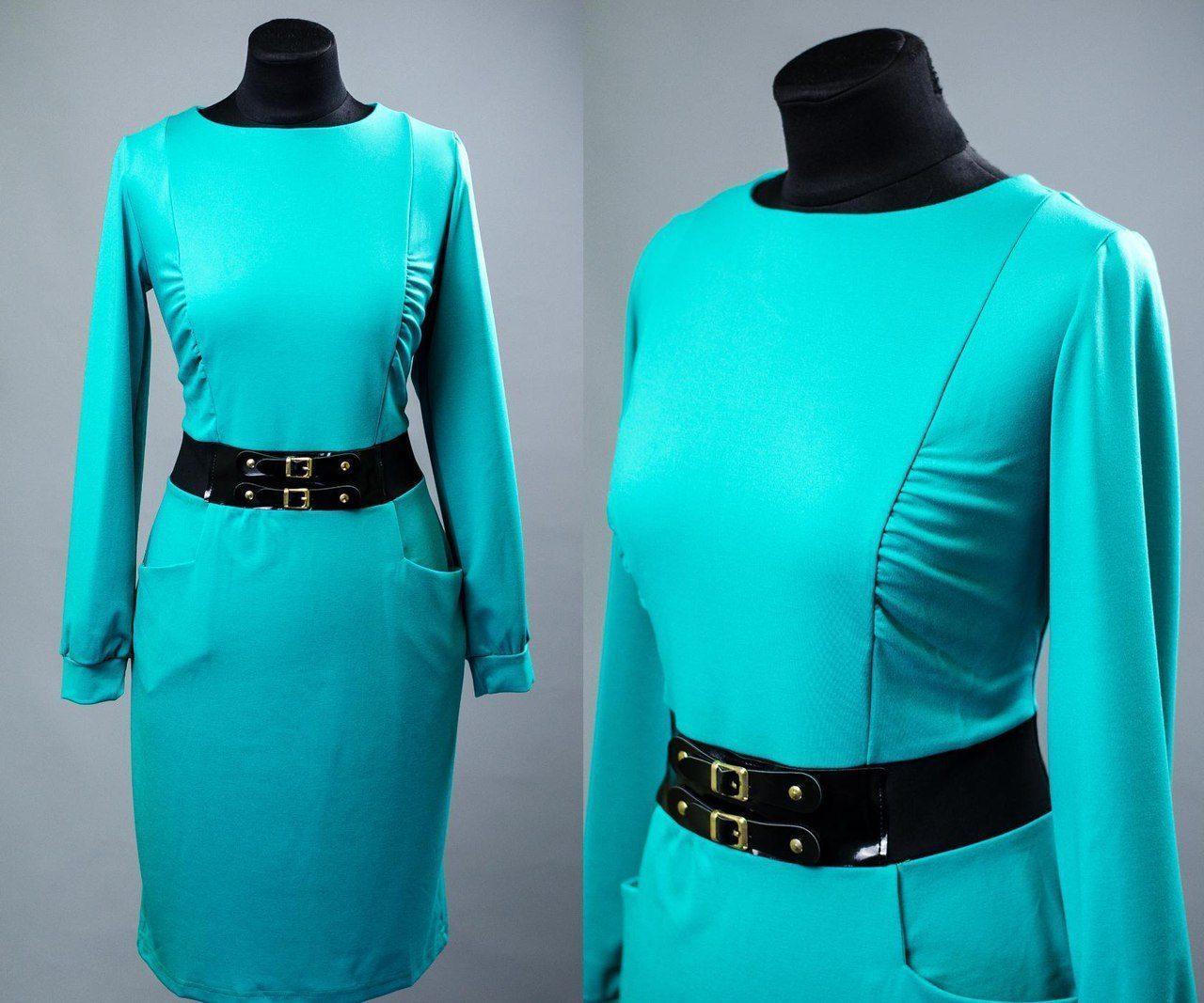 """Элегантное женское платье ткань """"Французский трикотаж"""" пояс в виде обманки 48, 50 размер батал"""