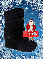 Модные полусапожки женские зимние черные замшевые Brokoly со скидкой