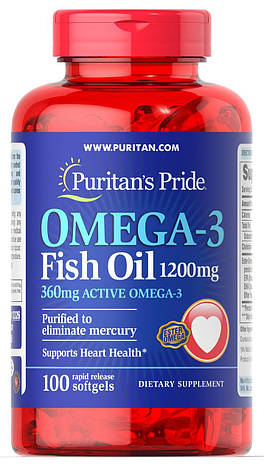 Puritan's Pride Omega-3 Fish Oil 1200 mg 100 softgels, фото 2