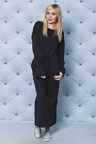 Длинное трикотажное платье черное