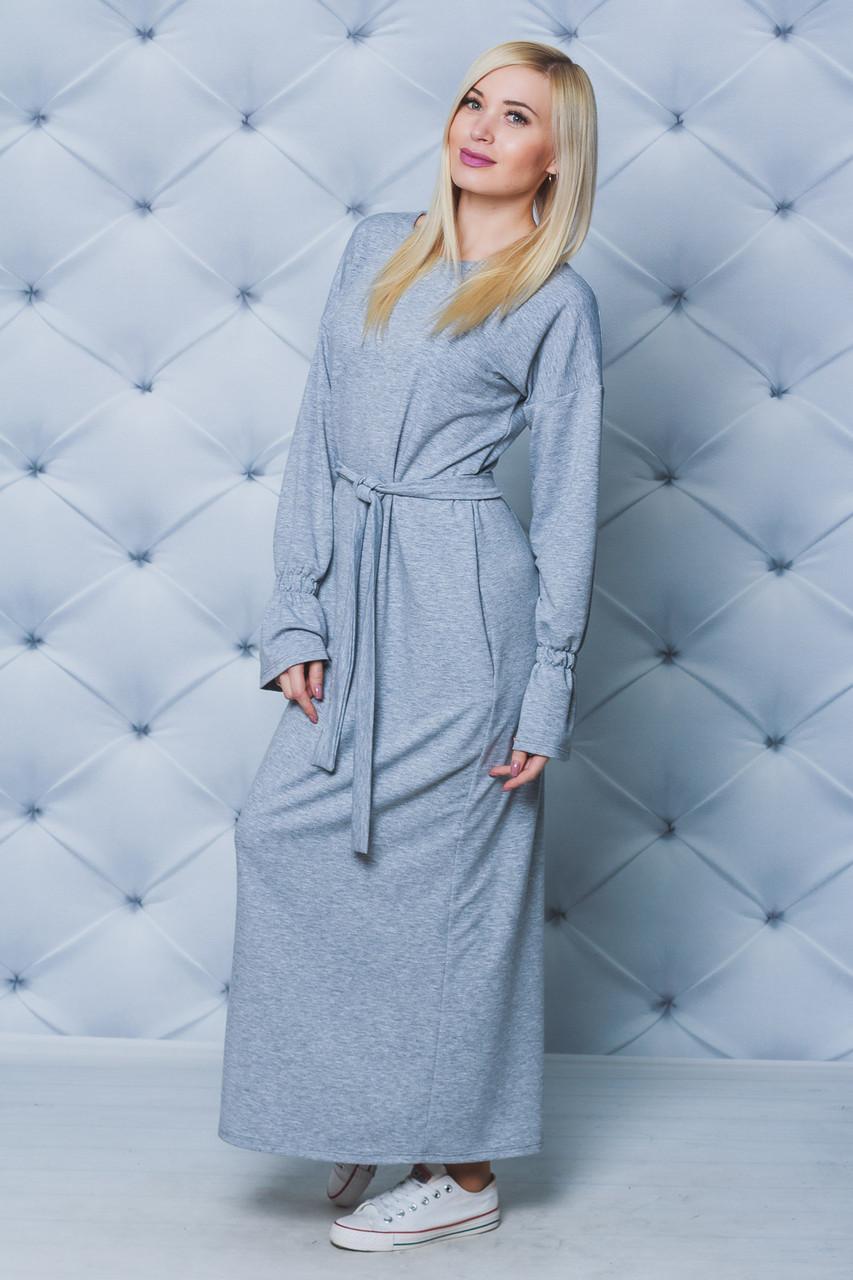 0f11021e858455a Длинное трикотажное платье св-серое - Интернет-магазин