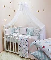 """Комплект в кроватку (бортики - подушки) Baby Design """"Stars"""" цветной, фото 1"""