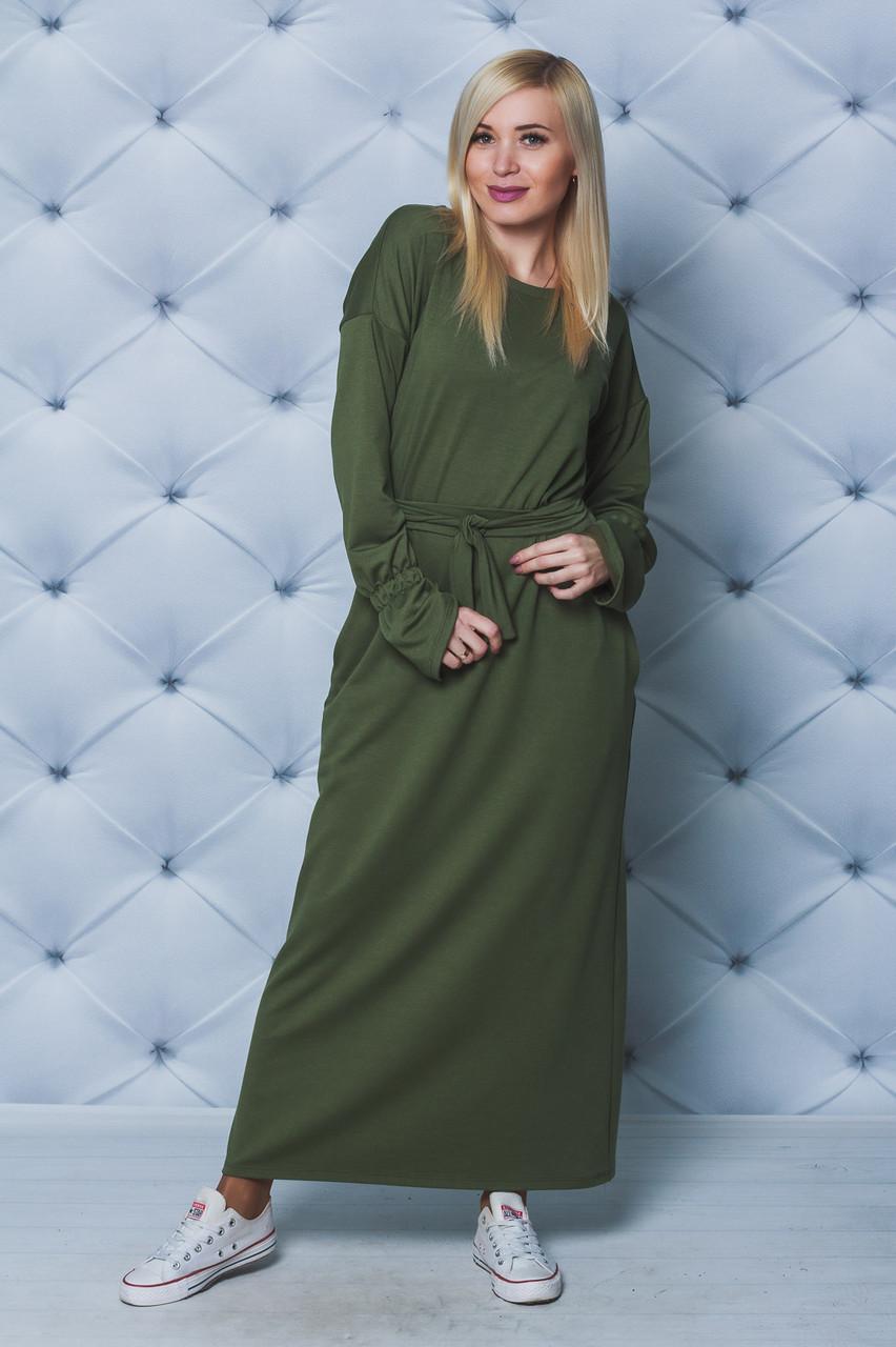 Длинное трикотажное платье хаки