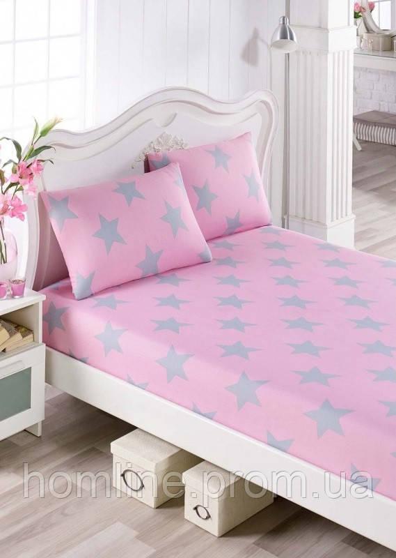 Простынь на резинке с наволочками Eponj Home BigStar pembe розовый 160*200 двухспальная евро размер