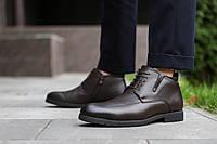 Туфли мужские зимние кожаные теплые на меху классические качественные (коричневые), ТОП-реплика