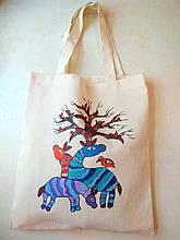 Эко-сумка индийская роспись Лошадки ручная работа