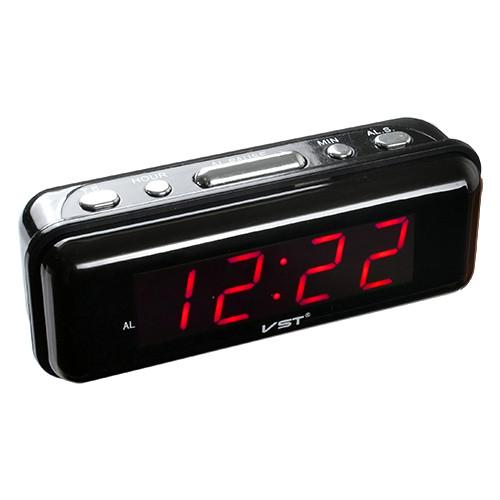 Часы сетевые  VST 738-1, Настольные электронные часы, красный цвет