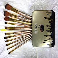 Набор кистей для макияжа 12 штук в золотом металлическом пенале