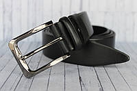 Кожаный ремень мужской классический черный 35мм