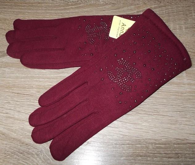 Перчатки на меху со стразами марсала