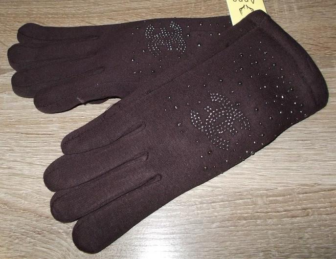 Перчатки на меху со стразами шоколад