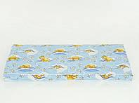 Матрас детский в кроватку кокос - поролон, чехол хлопок, Мишки в кроватке, голубой