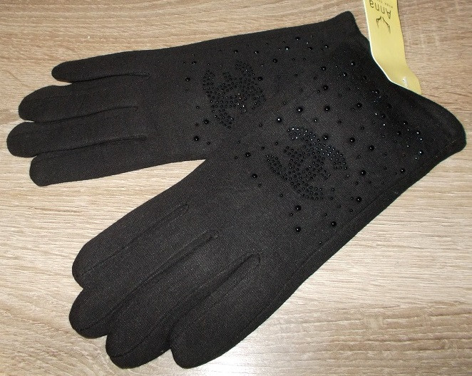 Перчатки на меху со стразами черные размер 6.5