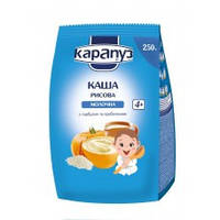 Каша молочная рисовая с тыквой и пребиотиками Карапуз 250 гр., от 4 месяцев, мягкая упаковка