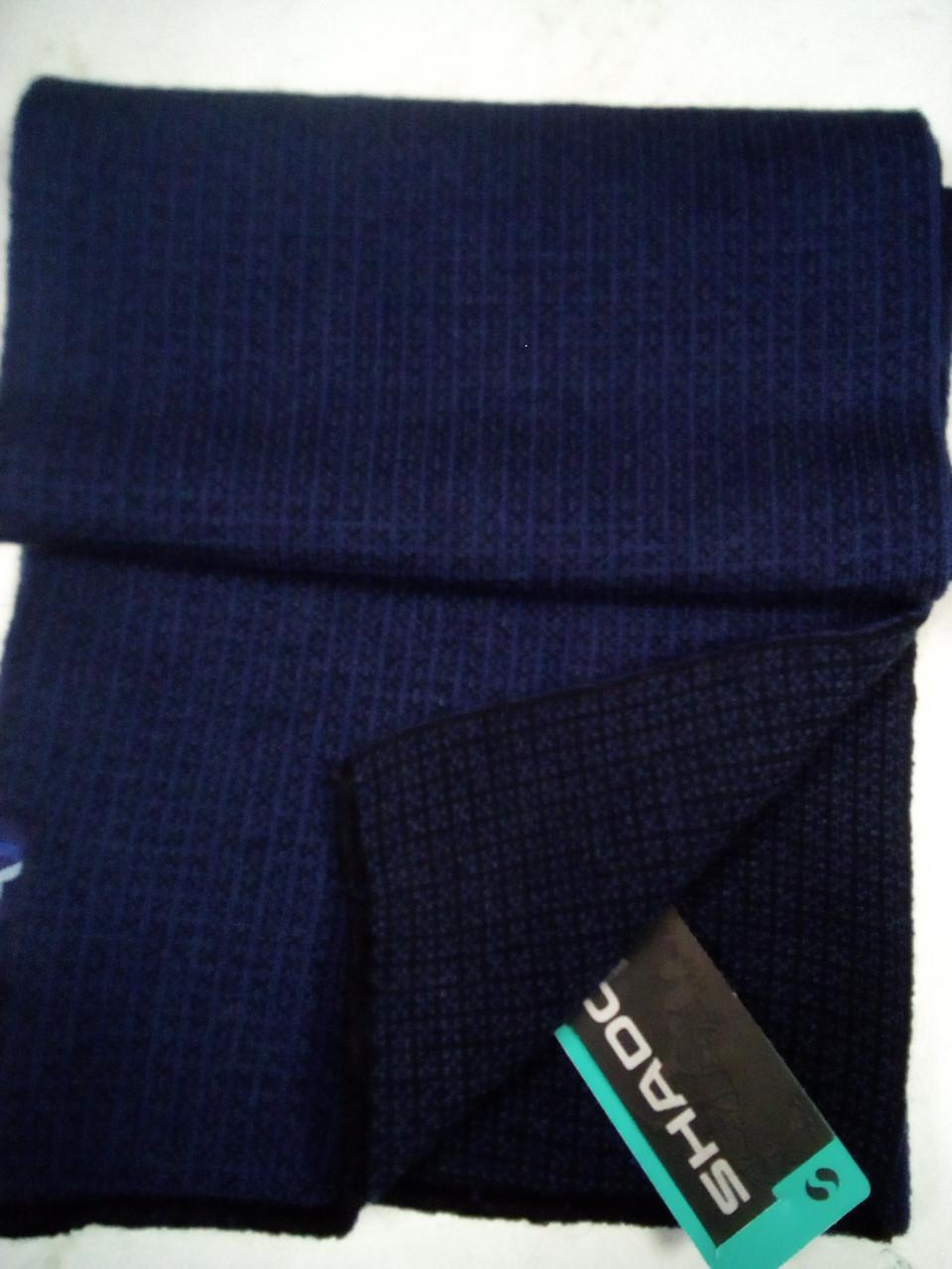 Шарф мужской однотонный вязаный цвет синий