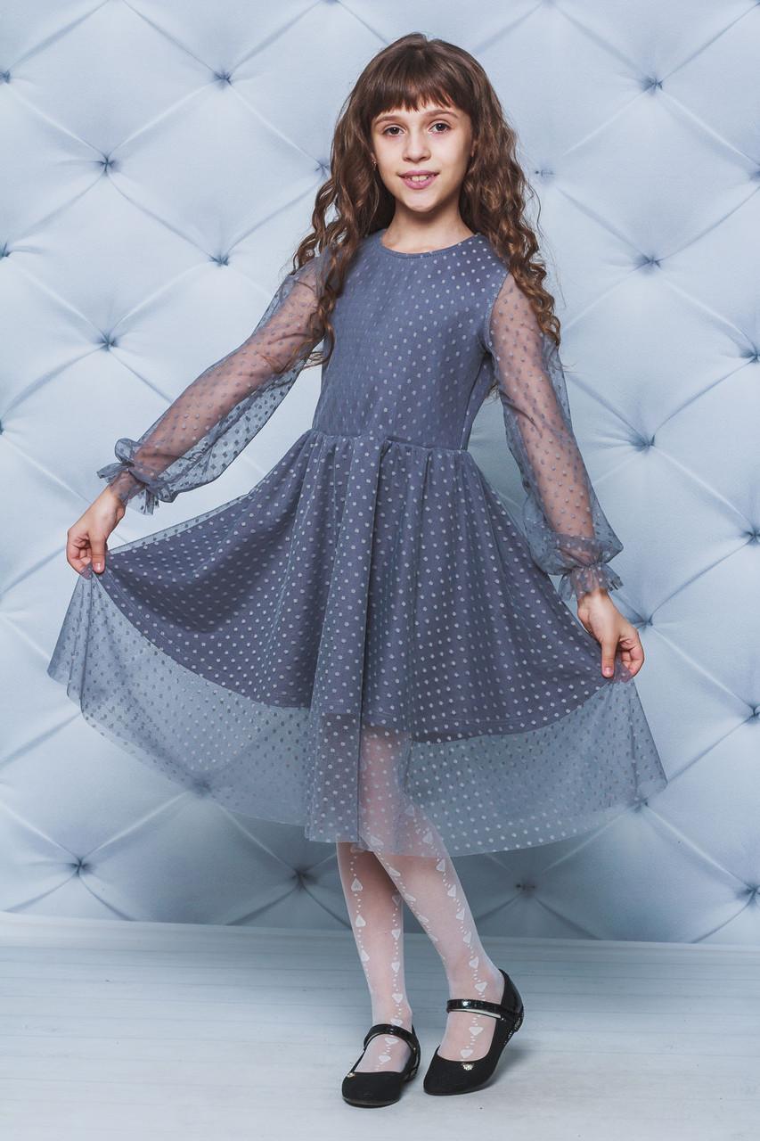 Платье нарядное сетка для девочки темно-серое