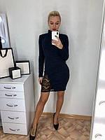 Стильное платье-гольф с кружевом,размеры 42-44,46-48., фото 1