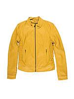 Желтая женская кожаная куртка,весенняя женская куртка