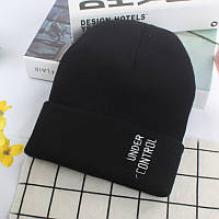 Модная шапка Under Control с отворотом черного цвета