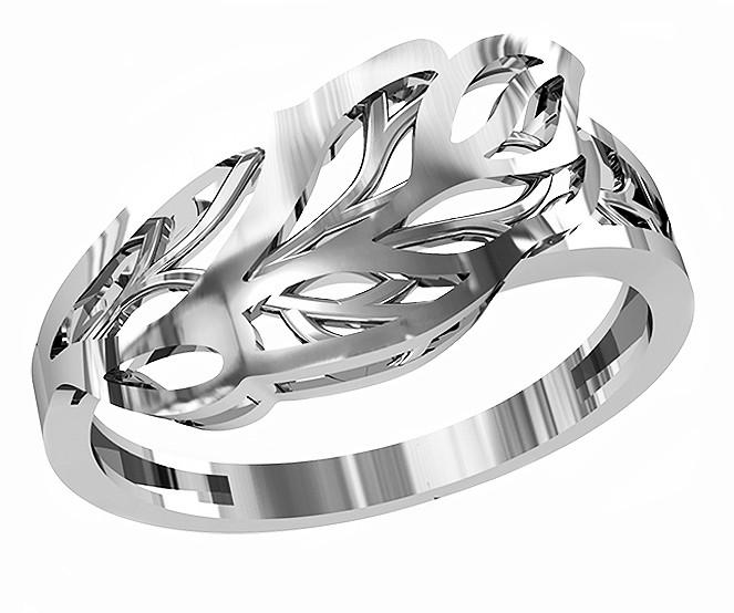 Кольцо  женское серебряное Leaves 212 440