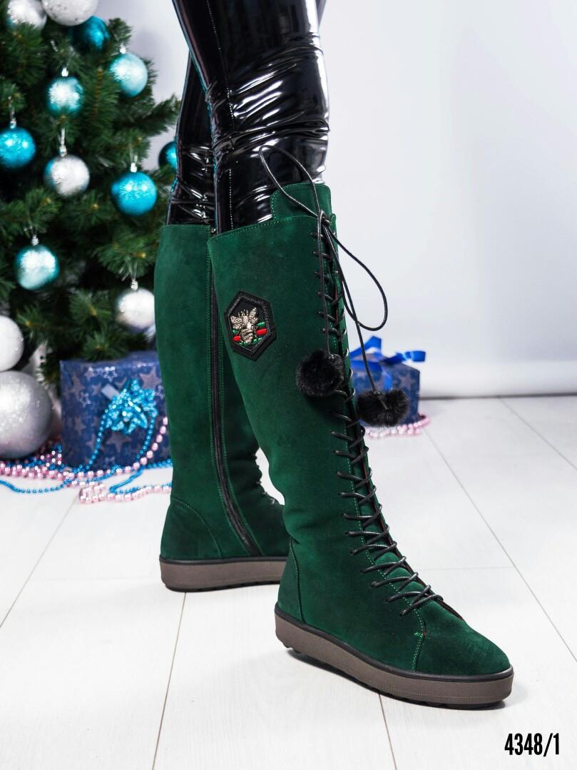 Сапоги женские на шнуровке зеленые