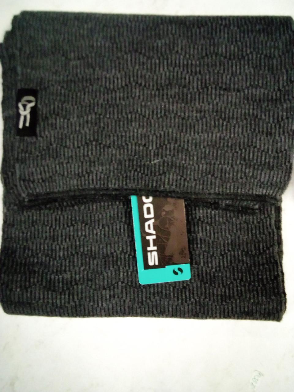 Стильний однотонний в'язаний шарф колір темно сірий