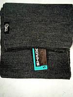 Стильный однотонный вязаный шарф цвет темно серый