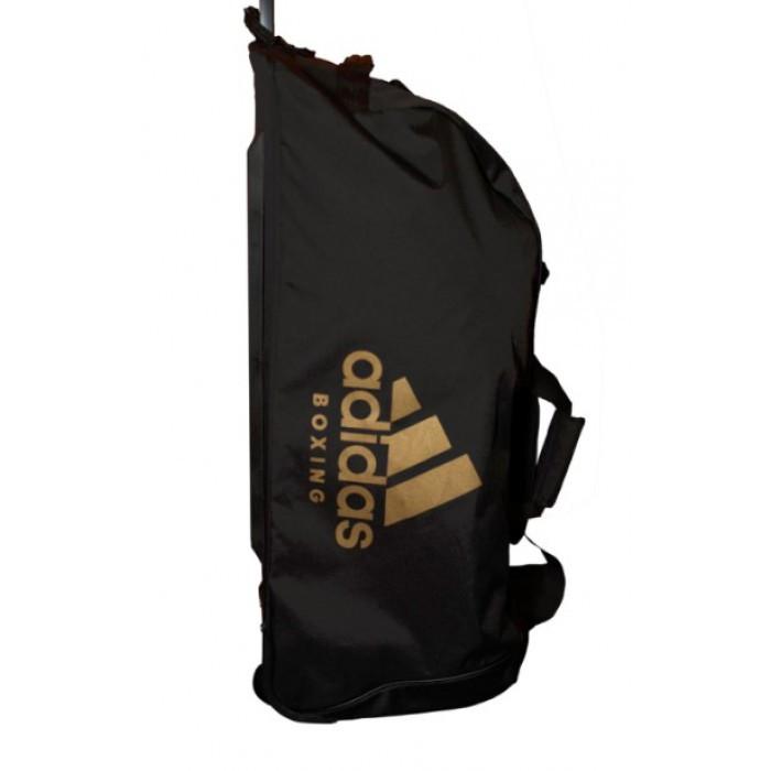 Дорожная сумка на колесах с золотым логотипом Adidas Boxing (черная, ADIACC057B)