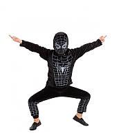 Костюм супергероя спайдермена черный велюровый карнавальный для мальчика на утренник