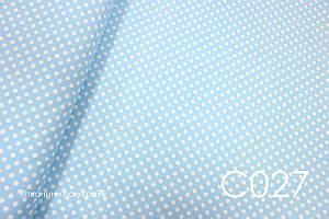 Тканина сатин Горох на блакитному 8 мм