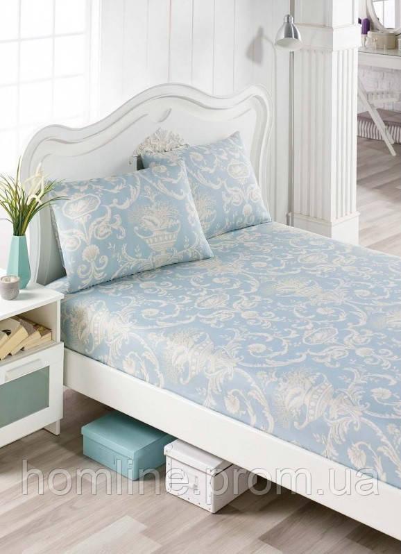 Простынь на резинке с наволочками Eponj Home Tuval mavi голубой 160*200 двухспальная евро размер