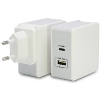 Сетевая зарядка T-PHOX 57W Fast Charge - TYPE-C PD 45W+USB 12W (White)
