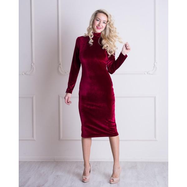 Бархатное платье-гольф для беременных и кормящих мам HIGH HEELS MOM (бордовый, размер S)