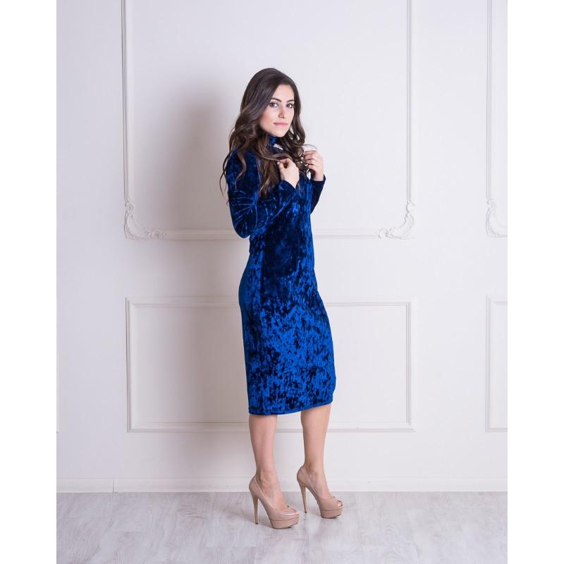 Бархатное платье-гольф для беременных и кормящих мам HIGH HEELS MOM (синий, размер S)