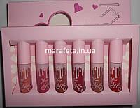 Жидкая помада Kylie Jenner Matte Liquid Lipstick 6в1 LOVE розовая упаковка, помада оптом