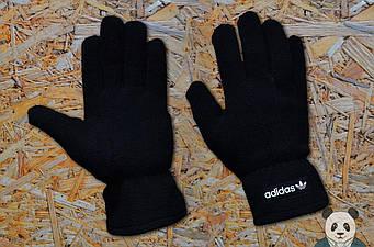 Теплые перчатки Adidas черного цвета (люкс копия)