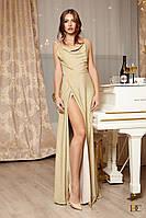 Вечернее длинное платье в пол на бретелях с юбкой с запахом