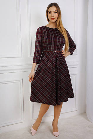 1a8fd4c6af6 Модное платье в клетку из шерстяного трикотажа с поясом  продажа ...