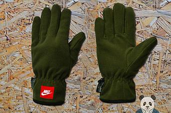Теплые перчатки Nike оливкового цвета (люкс копия)