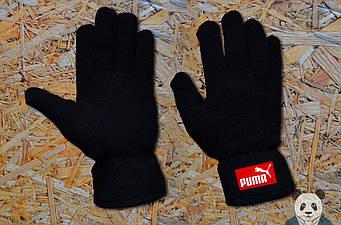 Теплые перчатки Puma черного цвета (люкс копия)