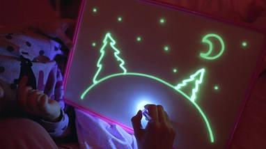 Набор для рисования Рисуй светом А5, творческий набор, развивающая игрушка доска для рисования светом подарок, фото 2