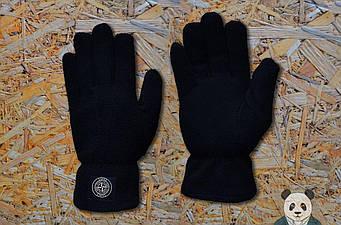 Теплые перчатки Stone Island черного цвета (люкс копия)
