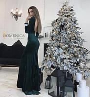 Шикарное вечернее длинное платье в пол с открытой спиной и расклешенной юбкой